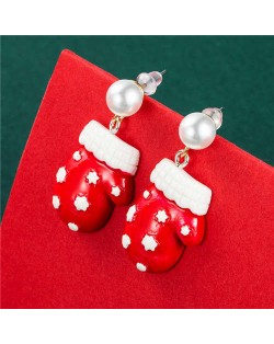 Gloves Design Artificial Pearl Wholesale Christmas High Fashion Pendant Earrings
