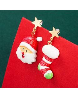 Happy Santa Claus and Christmas Sock Unique Design Women Wholesale Earrings
