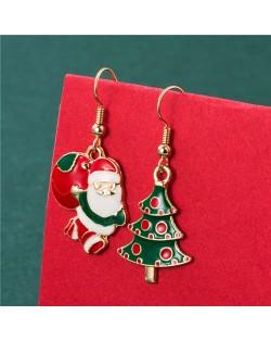 Santa Claus and Christmas Tree Creative Combo Design Women Alloy Asymmetric Wholesale Earrings