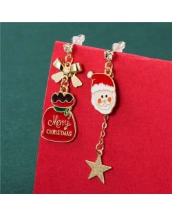 Cute White Beard Santa Claus and Christmas Bowknot Decorated Gift Package Women Wholesale Earrings