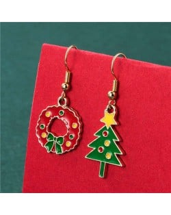Floral Hoop and Christmas Tree Colorful Embellished Asymmetric Design Women Fish Hook Wholesale Earrings