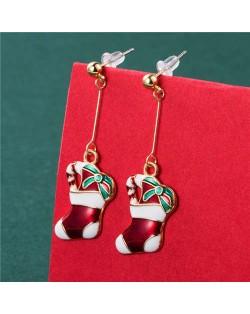 Super Adorable Lucky Socks Unique Design Party Fashion Wholesale Christmas Jewelry Dangle Ear Studs