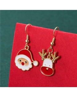 Cute Santa Claus with Deer Classic Christmas Design Women Alloy Wholesale Earrings