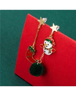 Christmas Socks and Sweet Snowman Combo Western Fashion Women Wholesale Dangle Earrings