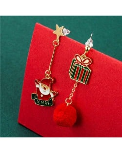 Christmas Gift Box with Red Fluffy Ball Pendant and Santa Claus Asymmetric Design Women Wholesale Earrings