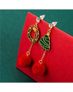 Floral Hoop and Christmas Tree with Fluffy Ball Pendant Christmas Jewelry Wholesale Dangle Earrings