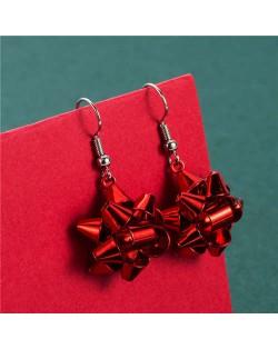Irregular Geometric Shape Snowflake Design Christmas Jewelry Wholesale Women Fashion Hook Earrings - Red