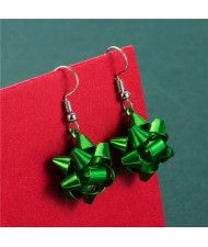 Irregular Geometric Shape Snowflake Design Christmas Jewelry Wholesale Women Fashion Hook Earrings - Green