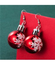 Wholesale Christmas Unique Design Snowflake Decorated Creative Bulb Women Oil-spot Glazed Earrings - Red