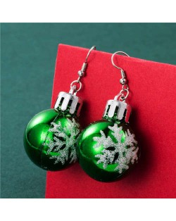 Wholesale Christmas Unique Design Snowflake Decorated Creative Bulb Women Oil-spot Glazed Earrings - Green