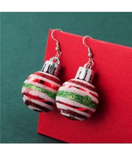 Creative Colorful Stripes Round Ball Minimalist Design Wholesale Christmas Jewelry Hook Earrings - Red