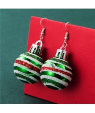 Creative Colorful Stripes Round Ball Minimalist Design Wholesale Christmas Jewelry Hook Earrings - Green