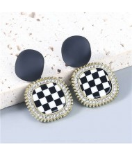Square Round Combo Black and White Checkered Dangle Resin Vintage Fashion Women Wholesale Jewelry Statement Earrings