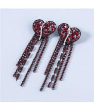 Heart Shape Wholesale Jewelry Colorful Rhinestone Inlaid Long Tassel Bohemian Style Women Fashion Earrings - Red