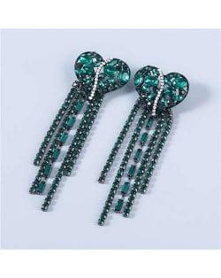 Heart Shape Wholesale Jewelry Colorful Rhinestone Inlaid Long Tassel Bohemian Style Women Fashion Earrings - Green