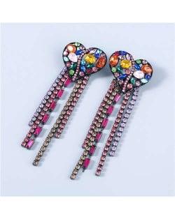 Heart Shape Wholesale Jewelry Colorful Rhinestone Inlaid Long Tassel Bohemian Style Women Fashion Earrings - Multicolor