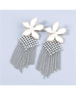 Bohemian Floral Artificial Pearl Inlaid Classic Design Long Tassel Oil-spot Glazed Wholesale Women Tassel Earrings - White
