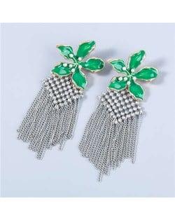 Bohemian Floral Artificial Pearl Inlaid Classic Design Long Tassel Oil-spot Glazed Wholesale Women Tassel Earrings - Green