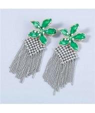 Bohemian Floral Artificial Pearl Inlaid Classic Design Long Tassel Oil-spot Glazed Wholesale Women Earrings - Green