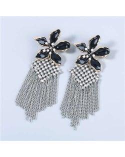 Bohemian Floral Artificial Pearl Inlaid Classic Design Long Tassel Oil-spot Glazed Wholesale Women Tassel Earrings - Black