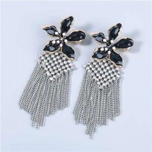 Bohemian Floral Artificial Pearl Inlaid Classic Design Long Tassel Oil-spot Glazed Wholesale Women Earrings - Black