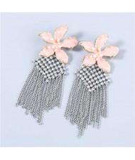 Bohemian Floral Artificial Pearl Inlaid Classic Design Long Tassel Oil-spot Glazed Wholesale Women Earrings - Pink