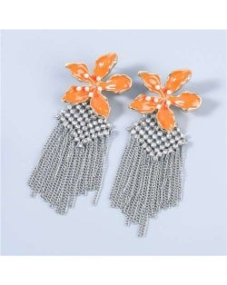 Bohemian Floral Artificial Pearl Inlaid Classic Design Long Tassel Oil-spot Glazed Wholesale Women Tassel Earrings - Orange