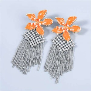 Bohemian Floral Artificial Pearl Inlaid Classic Design Long Tassel Oil-spot Glazed Wholesale Women Earrings - Orange