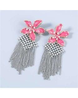Bohemian Floral Artificial Pearl Inlaid Classic Design Long Tassel Oil-spot Glazed Wholesale Women Tassel Earrings - Rose