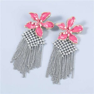 Bohemian Floral Artificial Pearl Inlaid Classic Design Long Tassel Oil-spot Glazed Wholesale Women Earrings - Rose