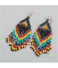 Irregular Geometric Wholesale Jewelry Beads Long Tassel Design U.S Bold Vintage Fashion Women Earrings - Multicolor