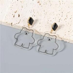 Cute Bear Pendant Design Party Fashion Women Oil-spot Glazed Wholesale Costume Earrings