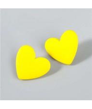 Korean Fashion Wholesale Jewelry Popular Candy Color Heart Shape Minimalist Design Women Resin Ear Studs - Yellow
