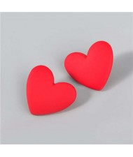 Korean Fashion Wholesale Jewelry Popular Candy Color Heart Shape Minimalist Design Women Resin Ear Studs - Red