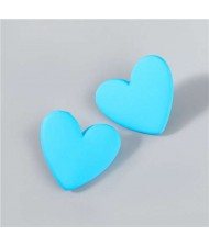 Korean Fashion Wholesale Jewelry Popular Candy Color Heart Shape Minimalist Design Women Resin Ear Studs - Blue