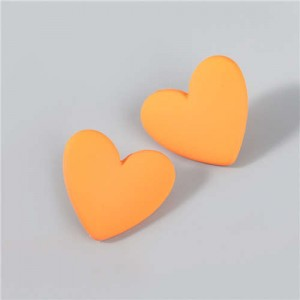 Korean Fashion Wholesale Jewelry Popular Candy Color Heart Shape Minimalist Design Women Resin Ear Studs - Orange