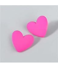 Korean Fashion Wholesale Jewelry Popular Candy Color Heart Shape Minimalist Design Women Resin Ear Studs - Rose