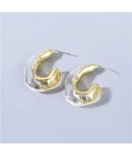 U.S Fashion C-shape Unique Design Vintage Women Wholesale Jewelry Resin Earrings - Transparent