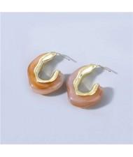 U.S Fashion C-shape Unique Design Vintage Women Wholesale Jewelry Resin Earrings - Brown
