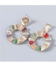 Vintage Style Round Shape Rhinestone Inlaid Geometric Women Wholesale Dangling Earrings