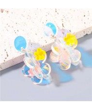 Candy Color Sweet Floral Abstract Design Wholesale Jewelry Party High Fashion Women Dangle Earrings