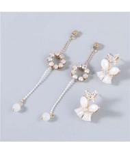 Korean High Fashion Butterfly Long Round Shape Rhinestone Inlaid Pendant Women Wholesale Earrings