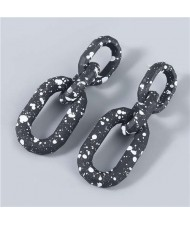 U.S Hip-hop Wholesale Jewelry Black and White Round Dots Chain Design Long Women Dangling Earrings - Black
