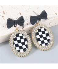 Bow-knot Decorated Black and White Checkered Shining Rhinestone Rimmed Oval Women Wholesale Earrings