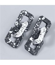 Square Black and White Dots Chain Wholesale Jewelry Geometric Fashion Women Earrings - White