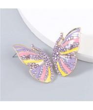Korean Fashion Butterfly Wholesale Jewelry Rhinestone Inlaid Oil-spot Glazed Women Ear Studs - Purple