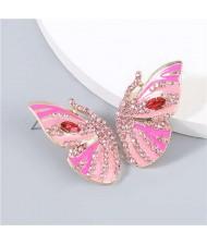 Korean Fashion Butterfly Wholesale Jewelry Rhinestone Inlaid Oil-spot Glazed Women Ear Studs - Pink