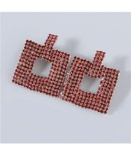 U.S Fashion Square Shape Hollow-out Glistening Rhinestone Inlaid Luxurious Women Wholesale Earrings - Red