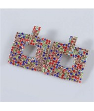 U.S Fashion Square Shape Hollow-out Glistening Rhinestone Inlaid Luxurious Women Wholesale Earrings - Multicolor
