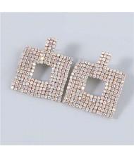 U.S Fashion Square Shape Hollow-out Glistening Rhinestone Inlaid Luxurious Women Wholesale Earrings - Luminous White